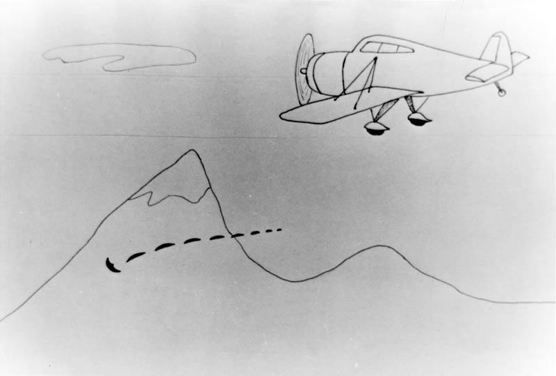 En teckning gjord av Kenneth Arnold 1965.